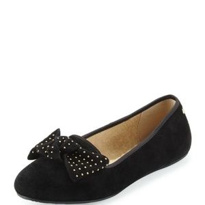 UGG Alloway Studded Bow Black Suede Flats Size 7